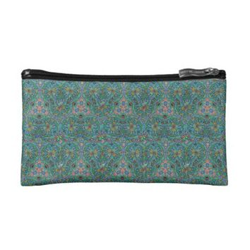 Teal Blue American Hippie Cosmetic Bag