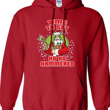 Time to Get Ho Ho Hammered Christmas Scrooge Funny Hoodie Hooded Sweatshirt Shirt Mens Ladies Womens Modern Merry Christmas Xmas DT-640h