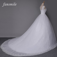 Fansmile Cheap White Double Shoulder Long Train Ball Lace Wedding Dress 2017 Bridal Dresses Plus Size Wedding Gowns Real Photo