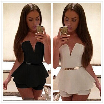 Feelingirl 2016 macacao female sexy strapless jumpsuit shorts feminino Casual rompers womens jumpsuit off   [7900469639]