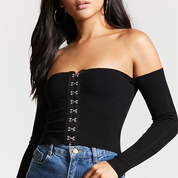 Off-the-Shoulder Hook-Eye Top