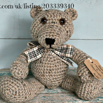 "Tweed crochet teddy bears handmade bear stuffed animals soft toys nursery bedroom home room decor 13"" Christmas Birthday shower gift"