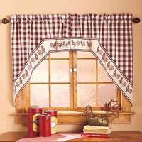 Country Curtain Set Rooster Swag Checked Gingham Print Kitchen Dining Farm Decor
