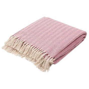 Herringbone Merlot Red Cotton Throw