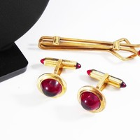 Ruby Red Domed Cab Cuff Links & Tie Bar Clip Set Signed Krementz, Goldtone and Ruby Red Glass Cabochons 1940s 1950s Vintage Gift for Him