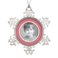 Christmas photo frame white and red dot border snowflake pewter christmas ornament