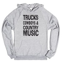 Trucks Cowboys County Music (Hoodie)-Unisex Heather Grey Hoodie