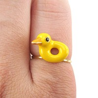 Yellow Rubber Ducky Shaped Enamel Ring