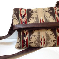 Native American Pattern and Leather Cross Body Messenge rCream and Chocolate Brown
