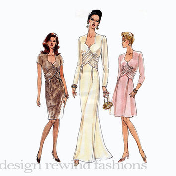 EVENING COCKTAIL DRESS Pattern Elegant Fit & Flare Wedding Dress Bridal Gown Bust 34 36 38 Vogue 9393 UNCuT 1990s Women's Sewing Patterns
