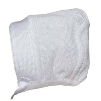 White 100% Mercerized Cotton Knit Hat with a Satin Ribbon Tie (Infant Boys newborn - 24 months)