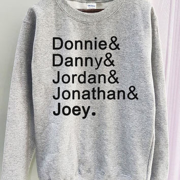NKOTB Sweatshirt Shirt New Kids On The Block Member Name Gildan 2 Colors Clothing Gray Black Grey
