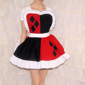 Harley Quinn Split Diamond Pinafore Apron Costume Skirt Adult ALL Sizes - MTCoffinz - Ready to Ship