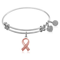 Expandable Bangle in White Tone Brass with Awareness and Support Ribbon Symbol