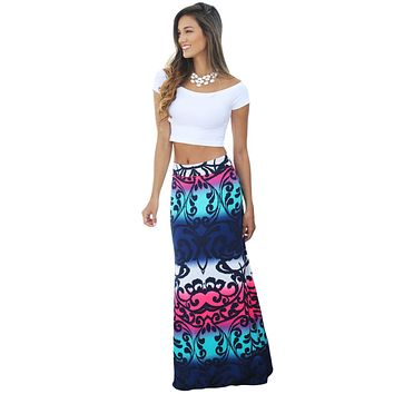 Colorblock Tendril Printed Maxi Skirt