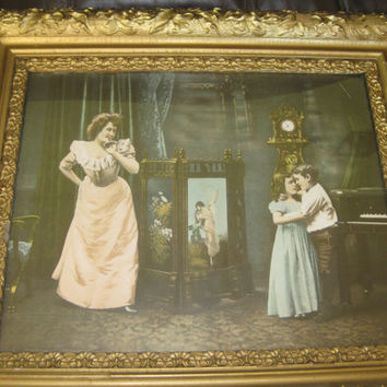 1900 Framed First Dance Litho Unsigned. Good framed under glass dated 1900