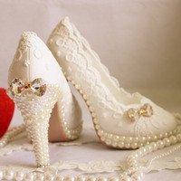 2015 Aesthetic Crystal Pearl Shoes, Wedding Pumps, Bridal Shoes, White Wedding Lace Shoes, EU35-43, 3.5CM to14CM, Free Shipping