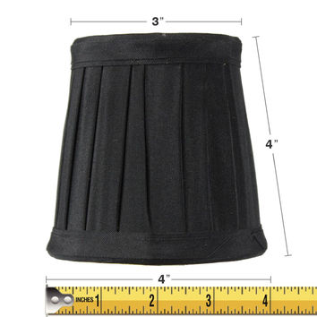 0-009848>3x4x4 Bold Black Lamp Shade Honey Comb Lining Pleated Clip-on Candelabra Lampshade