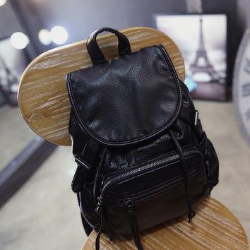 Black Leather Vintage Style Backpack