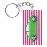 Green Bug Car on Pink and White Striped Keychain from Zazzle.com