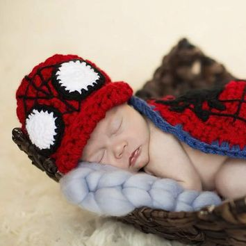 Spiderman Baby Newborn Prop Knit Hat Outfit Superhero - CCC271