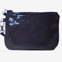 Leather Confetti Dot Wristlet in Gunmetal color - Free Shipping