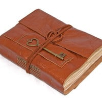 Light Brown Leather Journal with Tea Stained Pages and Heart Key Bookmark