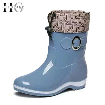 HEE GRAND Rain Boots Rubber Women Ankle Boots Casual Platform Shoes Woman Warm Flats Women Shoes Size 36-40 XWX4497