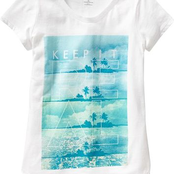 Old Navy Girls Beach Graphic Tees
