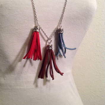 Long tassle necklace // red brown and blue necklace // suede tassel necklace // long necklace