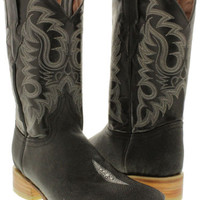 Men's Natural Black Exotic Stingray Single Stone Leather Cowboy Boots Square Toe