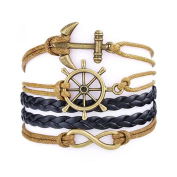 Handmade Infinity Compass Anchor Rudder Leather Weave Jewelry Bracelet