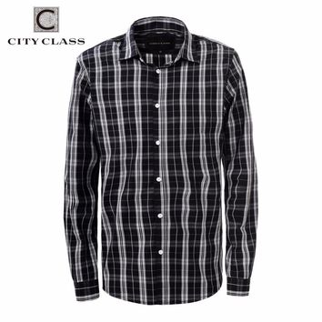 CITY CLASS 2016 men dress eu size business striped shirts formal office brand clothing camisa masculina multi-color 2967