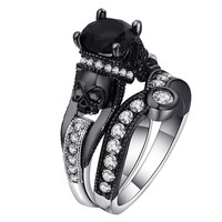 Black Skull Ring 925 Sterling Silver Color Wedding & Engagement CZ Crystal Ring Jewelry
