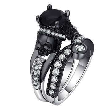 Black Skull Ring Set 925 Sterling Silver Color Fashion Wedding & Engagement CZ Crystal