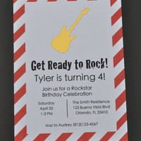 Gold Rockstar Birthday Party Invitations with Foil Design