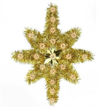 "21"" Oversized Lighted Gold Tinsel Star of Bethlehem Christmas Tree Topper - Clear Lights"