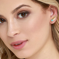 Flock of Falcons Gold and Turquoise Ear Cuffs