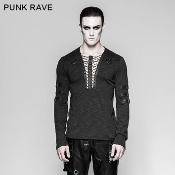 Punk Rave Men's Gothic Steampunk Rock Long sleeve T-shirt with Lacing T462