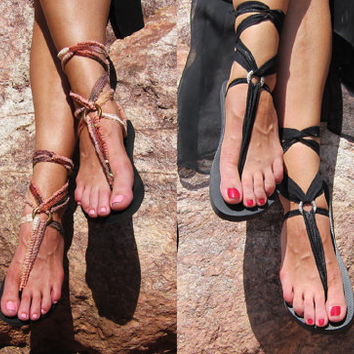 Black Lace Up Gladiator Sandals with TWO pairs of Interchangeable Laces. Black and Desert Wanderer. So boho and perfect for festivals.