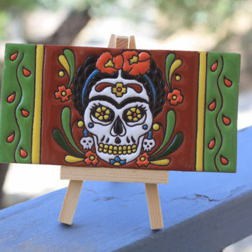 Frida Clay Painted Tile with Art Easel | Catrina Edition