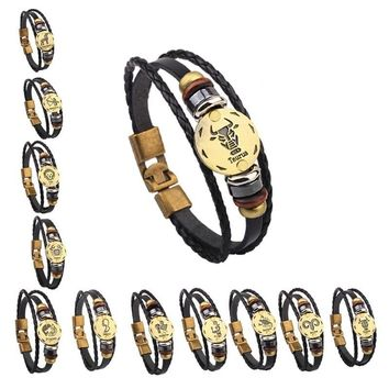 Vintage Punk Leather Zodiac Bracelet for Men Women 12 Constellations Horoscope Woven Rope Bangle Decorate Jewelry Accessories