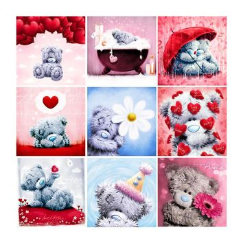 5D Round Diamond Embroidery Teddy Bear Picture of Rhinestones Full Square Kits Diamond Painting Cartoon Series Kids' Room Decor