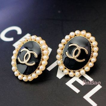PEAPYV2 Chanel Women Fashion CC Logo Stud Earring Jewelry