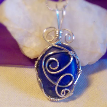 Wire Wrapped Blue Painted Lapis Lazuli Gemstone Beaded Cabochon Pendant