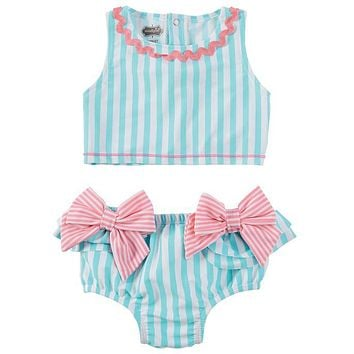 MUD PIE AQUA STRIPE BOW TWO-PIECE SWIMSUIT