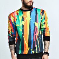 Dripping Paint Sublimation Crew Sweater