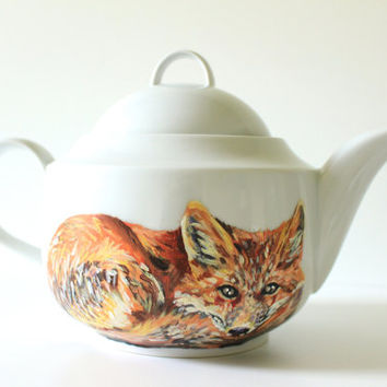 Handpainted Teapot - Vibrant Red Fox - Woodland Animal - Home Kitchen Decor - Modern White Porcelain Tea Ware - Original Wildlife Painting