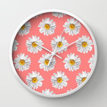Daisies & Peaches - Daisy Pattern on Pink Wall Clock by Tangerine-Tane | Society6