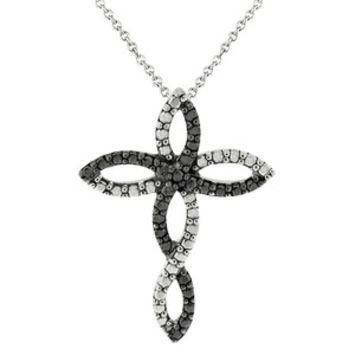 Sterling Silver Diamond Accent Infinity Cross Necklace - Black